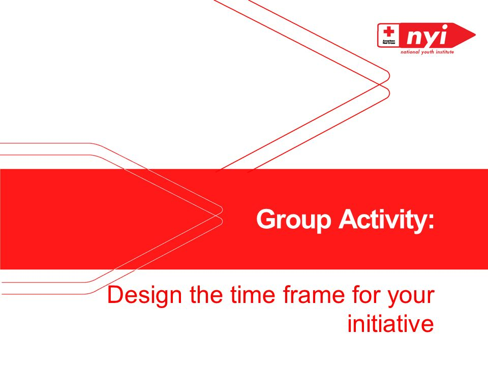 Group Activity: Design the time frame for your initiative