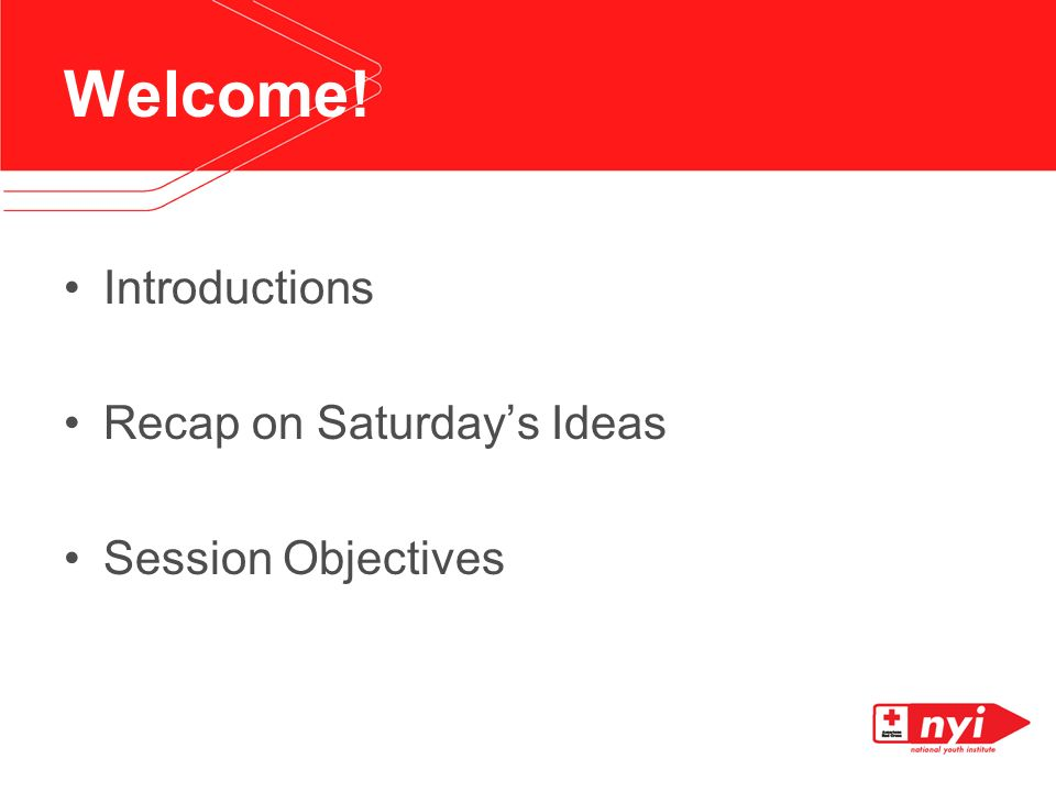 Welcome! Introductions Recap on Saturdays Ideas Session Objectives