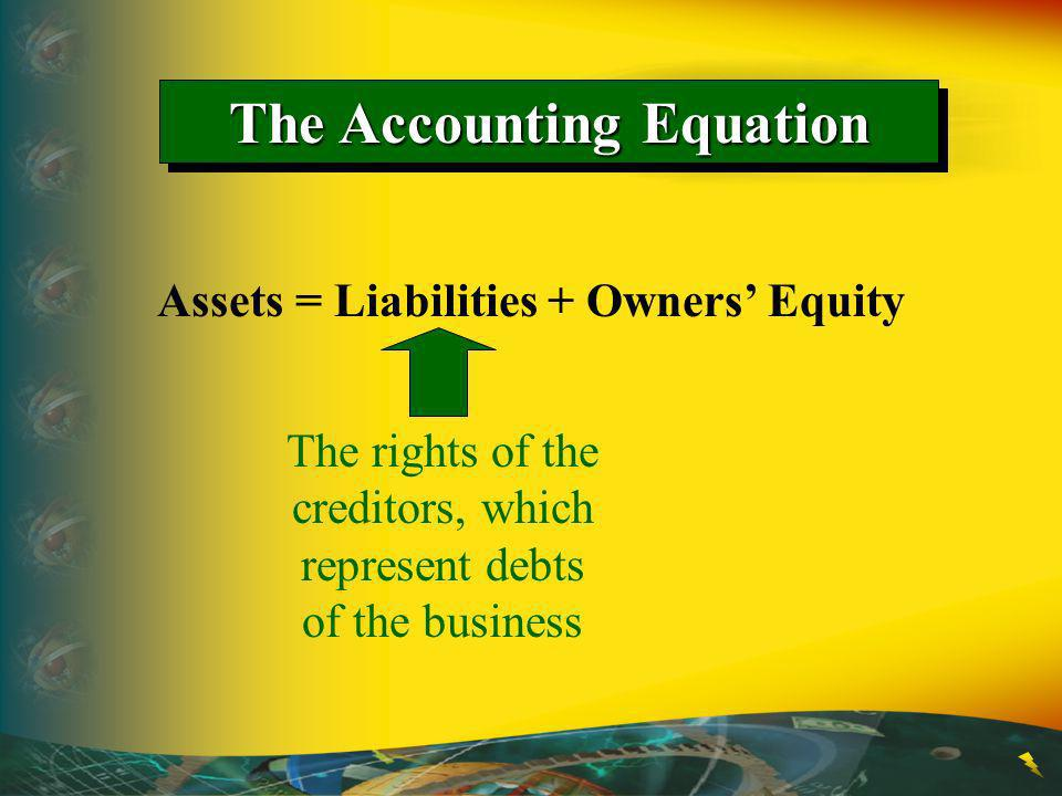 The Accounting Equation Assets = Liabilities + Owners Equity The rights of the creditors, which represent debts of the business