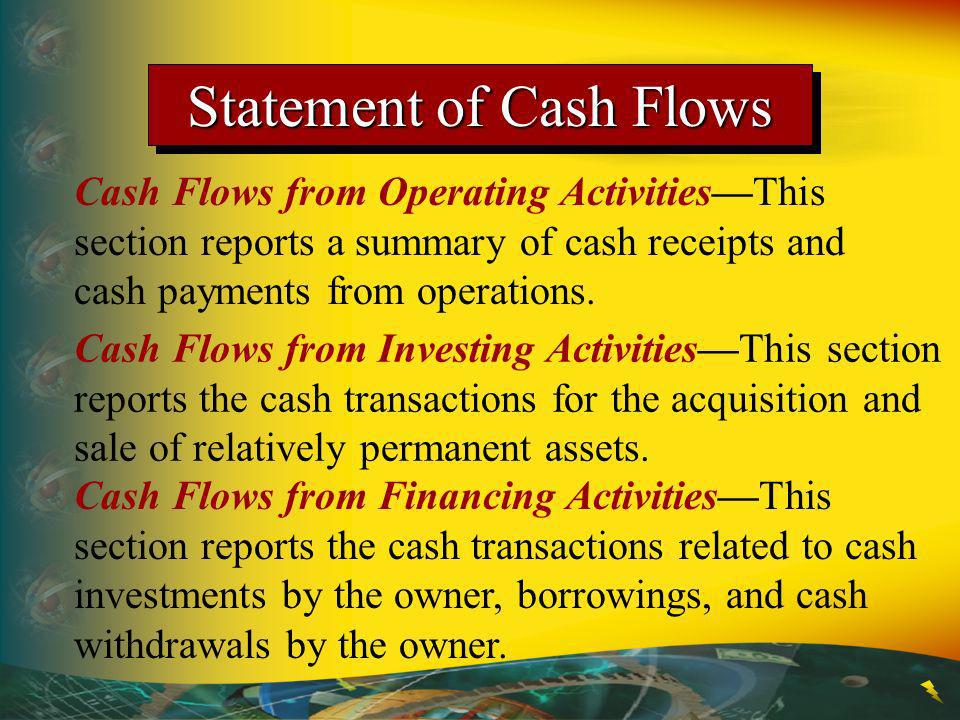 Statement of Cash Flows Cash Flows from Operating ActivitiesThis section reports a summary of cash receipts and cash payments from operations. Cash Fl