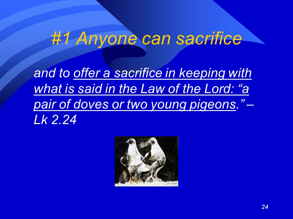 24 #1 Anyone can sacrifice and to offer a sacrifice in keeping with what is said in the Law of the Lord: a pair of doves or two young pigeons.