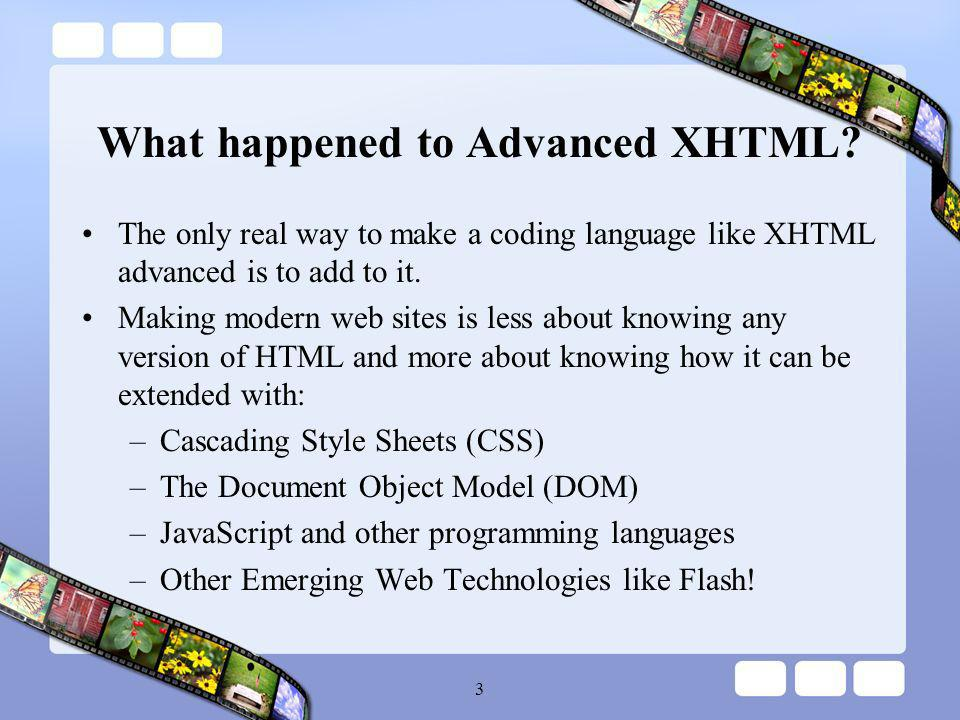 14 Future Web Programming The web seems to be moving away from Scripting Languages (JavaScript, Perl, and VBscript) to Programming Languages (ASP, Flashs ActionScript, Java, PHP, and Ruby).