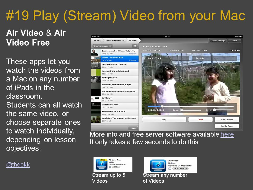 #19 Play (Stream) Video from your Mac Air Video & Air Video Free These apps let you watch the videos from a Mac on any number of iPads in the classroom.