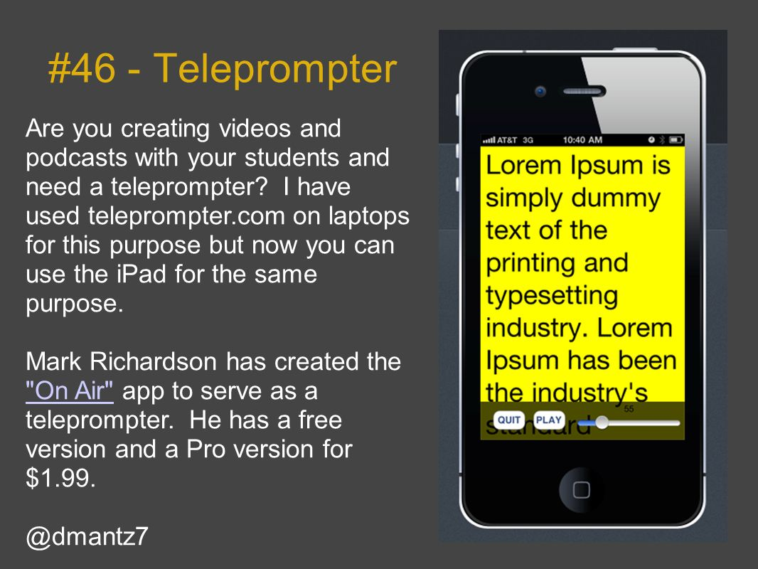 #46 - Teleprompter Are you creating videos and podcasts with your students and need a teleprompter.