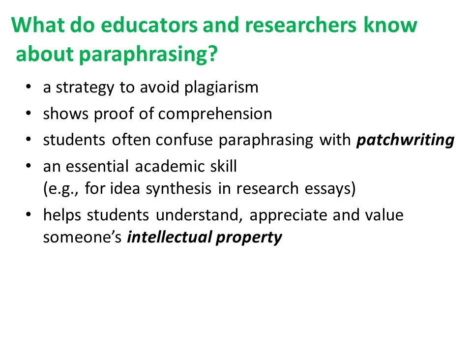 What do educators and researchers know about paraphrasing.