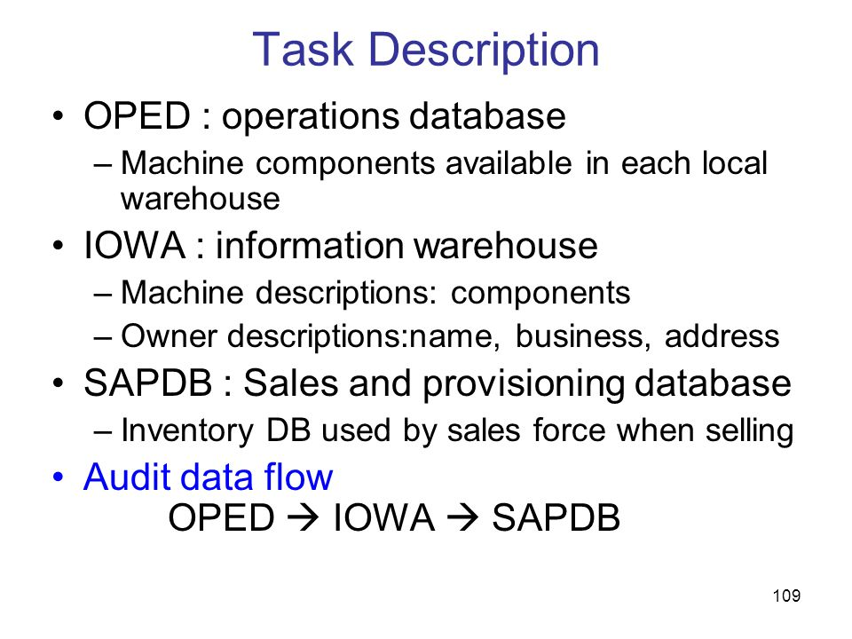 109 Task Description OPED : operations database –Machine components available in each local warehouse IOWA : information warehouse –Machine descriptio