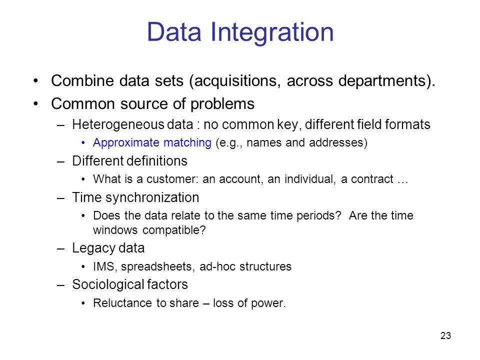 23 Data Integration Combine data sets (acquisitions, across departments). Common source of problems –Heterogeneous data : no common key, different fie