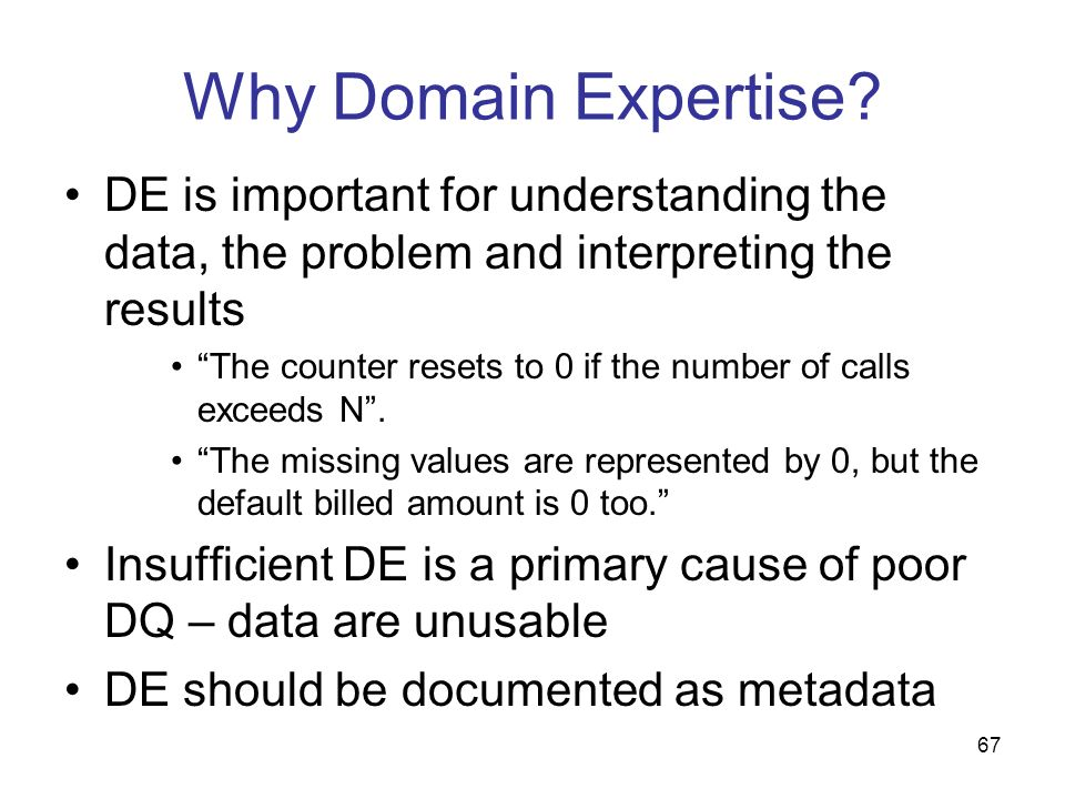 67 Why Domain Expertise? DE is important for understanding the data, the problem and interpreting the results The counter resets to 0 if the number of
