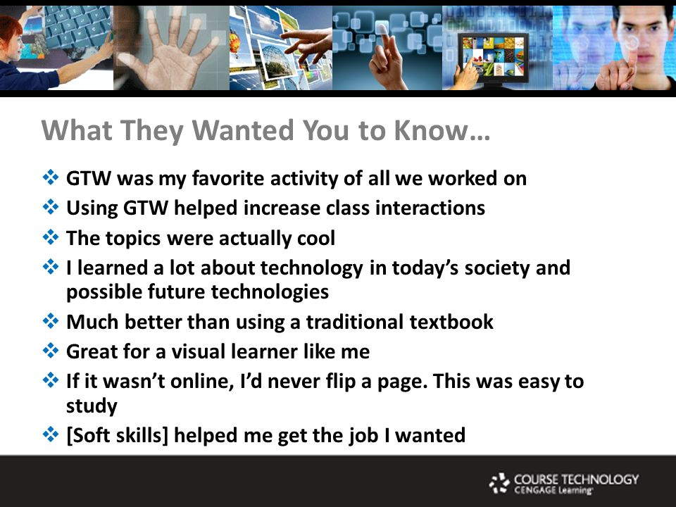 What They Wanted You to Know… GTW was my favorite activity of all we worked on Using GTW helped increase class interactions The topics were actually cool I learned a lot about technology in todays society and possible future technologies Much better than using a traditional textbook Great for a visual learner like me If it wasnt online, Id never flip a page.