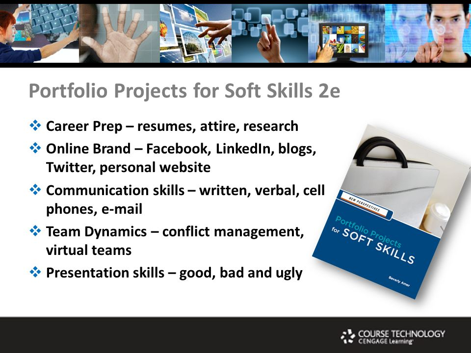 Portfolio Projects for Soft Skills 2e Career Prep – resumes, attire, research Online Brand – Facebook, LinkedIn, blogs, Twitter, personal website Communication skills – written, verbal, cell phones, e-mail Team Dynamics – conflict management, virtual teams Presentation skills – good, bad and ugly