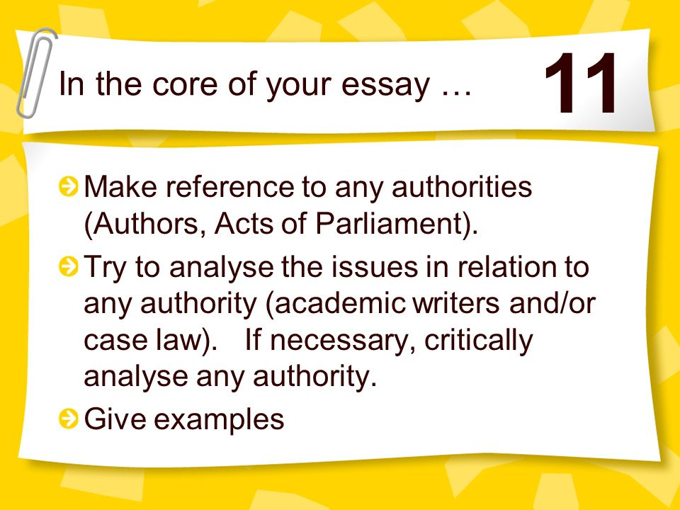 Carry out your essay plan - by discussing the issues raised in the question. Make reference to examples or case law (explaining the example/case and t