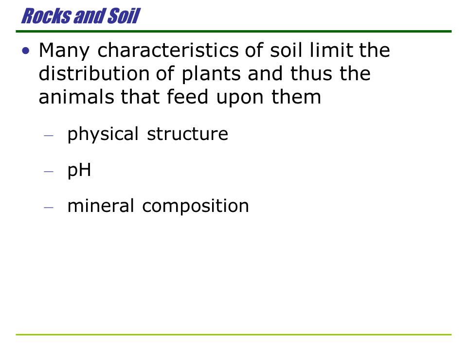 Rocks and Soil Many characteristics of soil limit the distribution of plants and thus the animals that feed upon them – physical structure – pH – mine