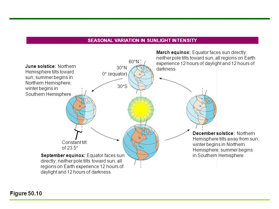 Figure 50.10 June solstice: Northern Hemisphere tilts toward sun; summer begins in Northern Hemisphere; winter begins in Southern Hemisphere. March eq