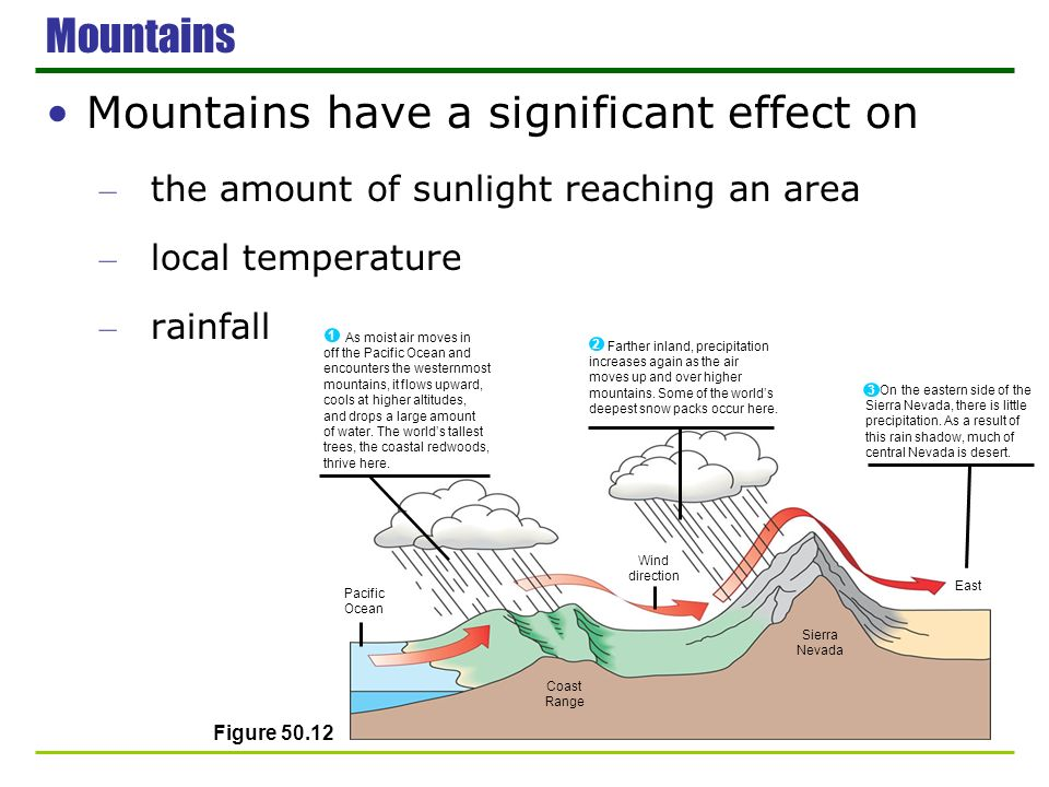 Mountains have a significant effect on – the amount of sunlight reaching an area – local temperature – rainfall Mountains Farther inland, precipitatio
