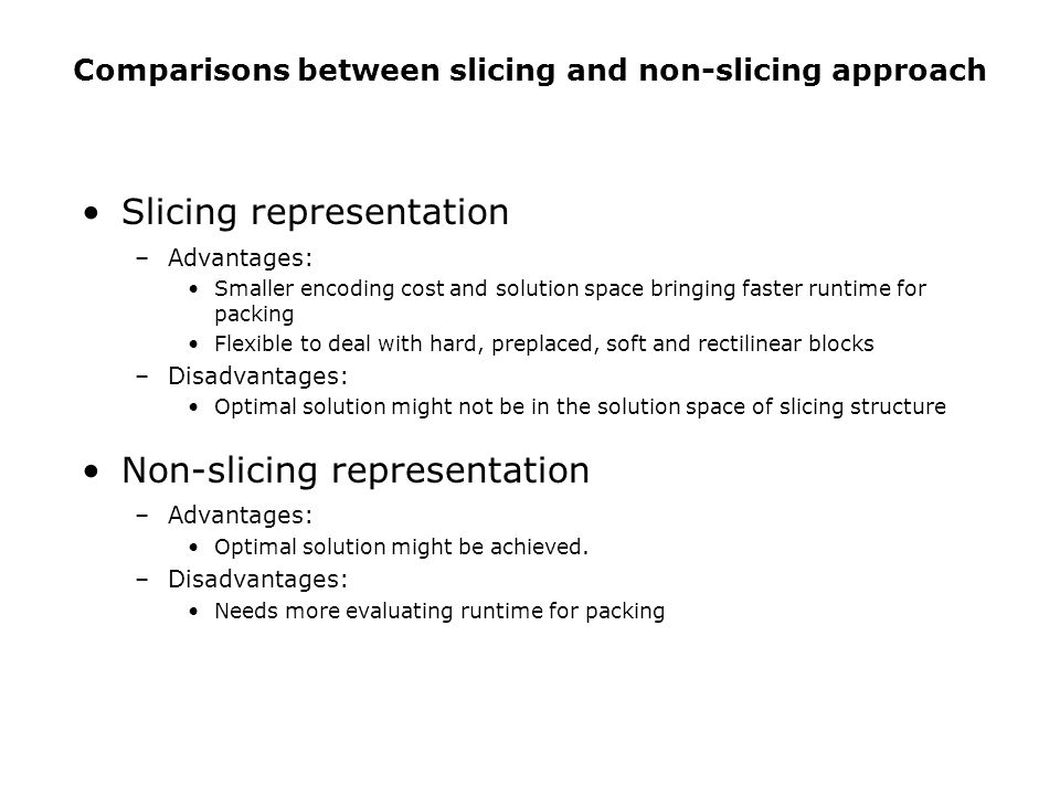 Slicing representation –Advantages: Smaller encoding cost and solution space bringing faster runtime for packing Flexible to deal with hard, preplaced