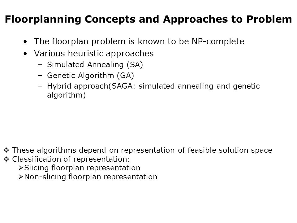 Floorplanning Concepts and Approaches to Problem The floorplan problem is known to be NP-complete Various heuristic approaches –Simulated Annealing (S