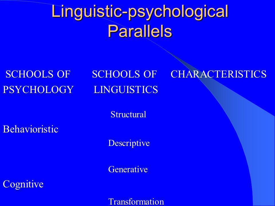 Linguistic-psychological Parallels SCHOOLS OF SCHOOLS OF CHARACTERISTICS PSYCHOLOGY LINGUISTICS Structural Behavioristic Descriptive Generative Cognit