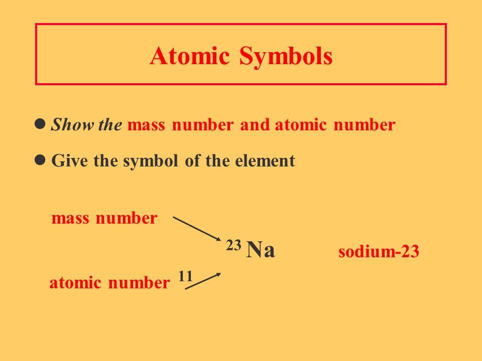 Atomic Symbols Show the mass number and atomic number Give the symbol of the element mass number 23 Na sodium-23 atomic number 11
