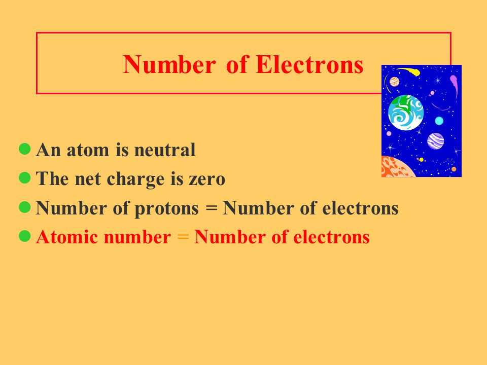 Number of Electrons An atom is neutral The net charge is zero Number of protons = Number of electrons Atomic number = Number of electrons
