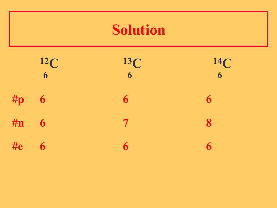 Solution 12 C 13 C 14 C 6 6 6 #p 6 6 6 #n 6 7 8 #e 6 6 6
