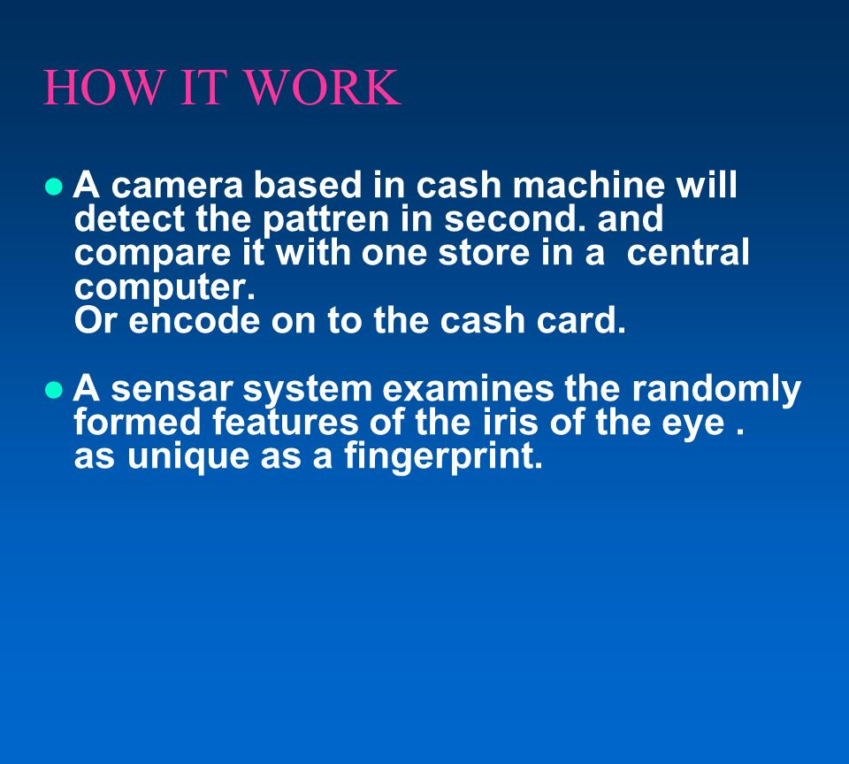 CONCLUSION We thus develop an ATM model that is more reliable in providing security by using facial recognition software.