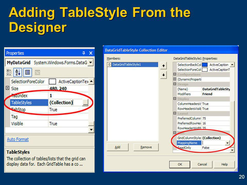 20 Adding TableStyle From the Designer