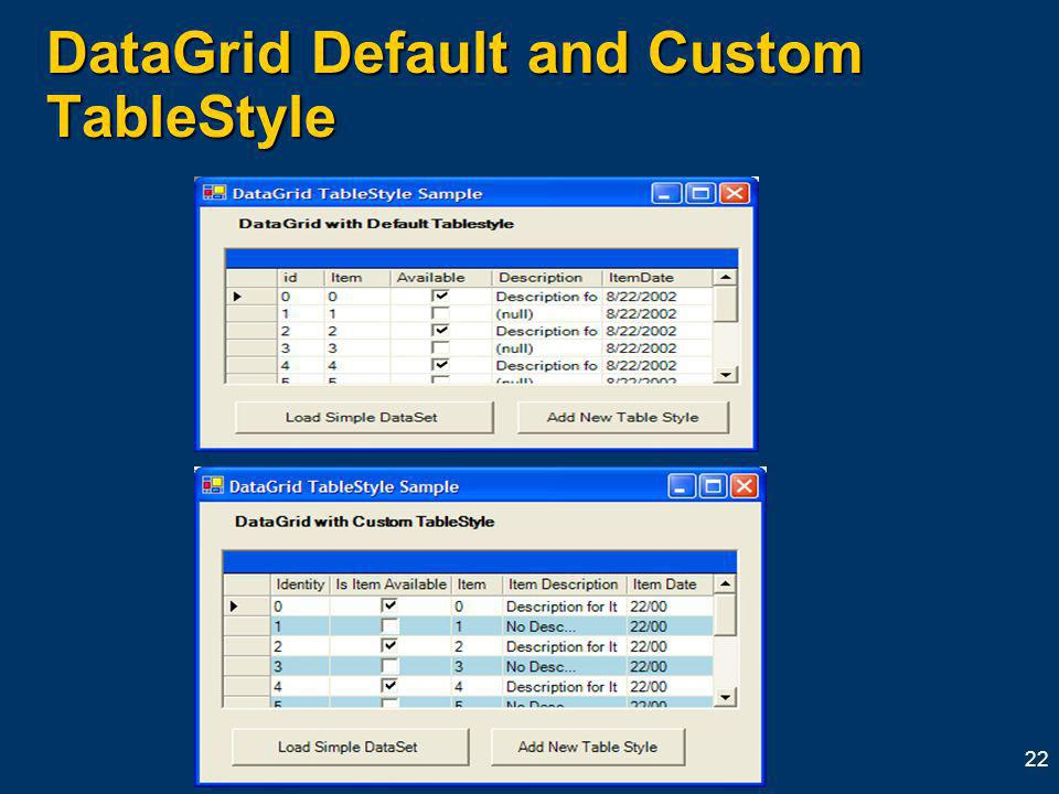 22 DataGrid Default and Custom TableStyle