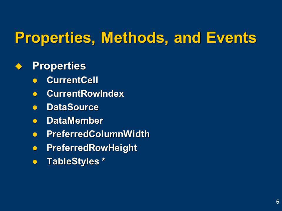 5 Properties, Methods, and Events Properties Properties CurrentCell CurrentCell CurrentRowIndex CurrentRowIndex DataSource DataSource DataMember DataMember PreferredColumnWidth PreferredColumnWidth PreferredRowHeight PreferredRowHeight TableStyles * TableStyles *