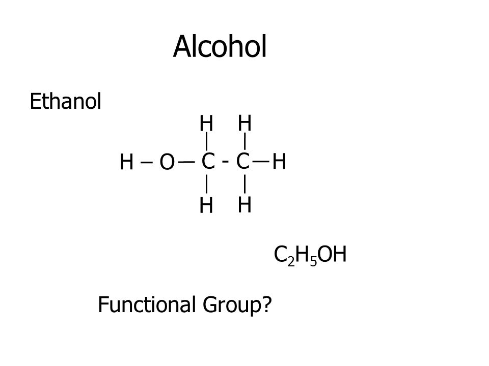 Alcohol Ethanol C - C H H H H H H – O C 2 H 5 OH Functional Group?