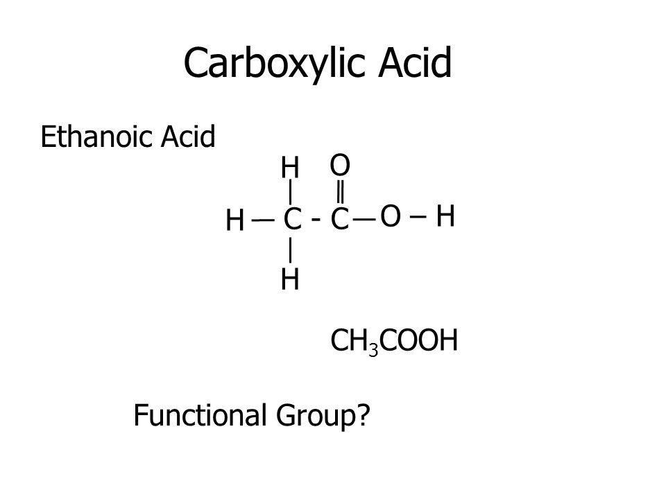 Carboxylic Acid Ethanoic Acid C - C H H H O – H O CH 3 COOH Functional Group?