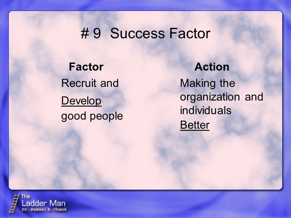 # 9Success Factor Factor Recruit and good people Action Making the organization and individuals Develop Better