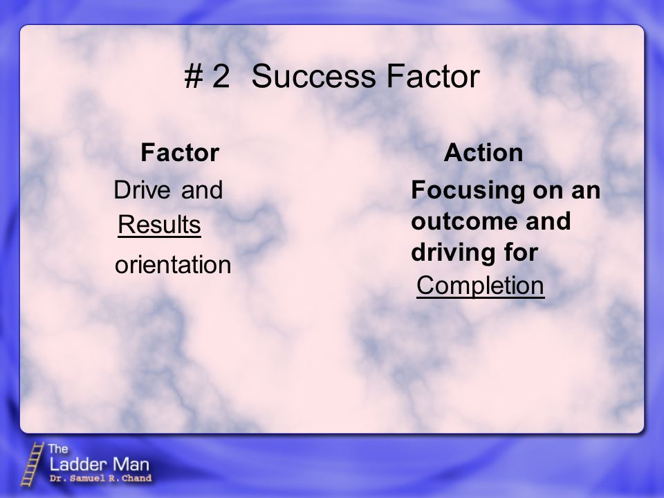 # 2Success Factor Factor Drive and orientation Action Focusing on an outcome and driving for Completion Results