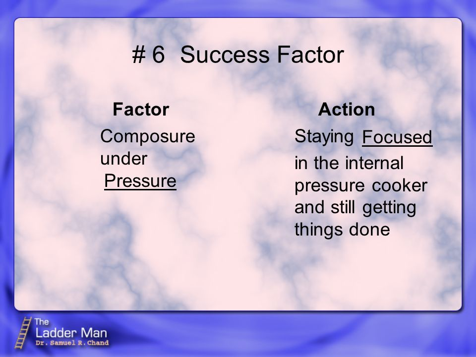 # 6Success Factor Factor Composure under Action Staying in the internal pressure cooker and still getting things done Pressure Focused