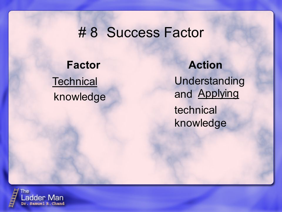 # 8Success Factor Factor knowledge Action Understanding and technical knowledge Technical Applying