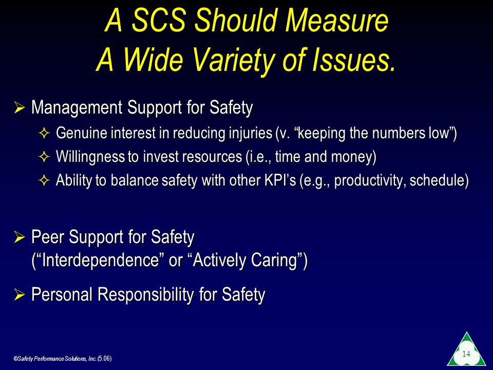©Safety Performance Solutions, Inc. (5.06) 14 A SCS Should Measure A Wide Variety of Issues. Management Support for Safety Management Support for Safe