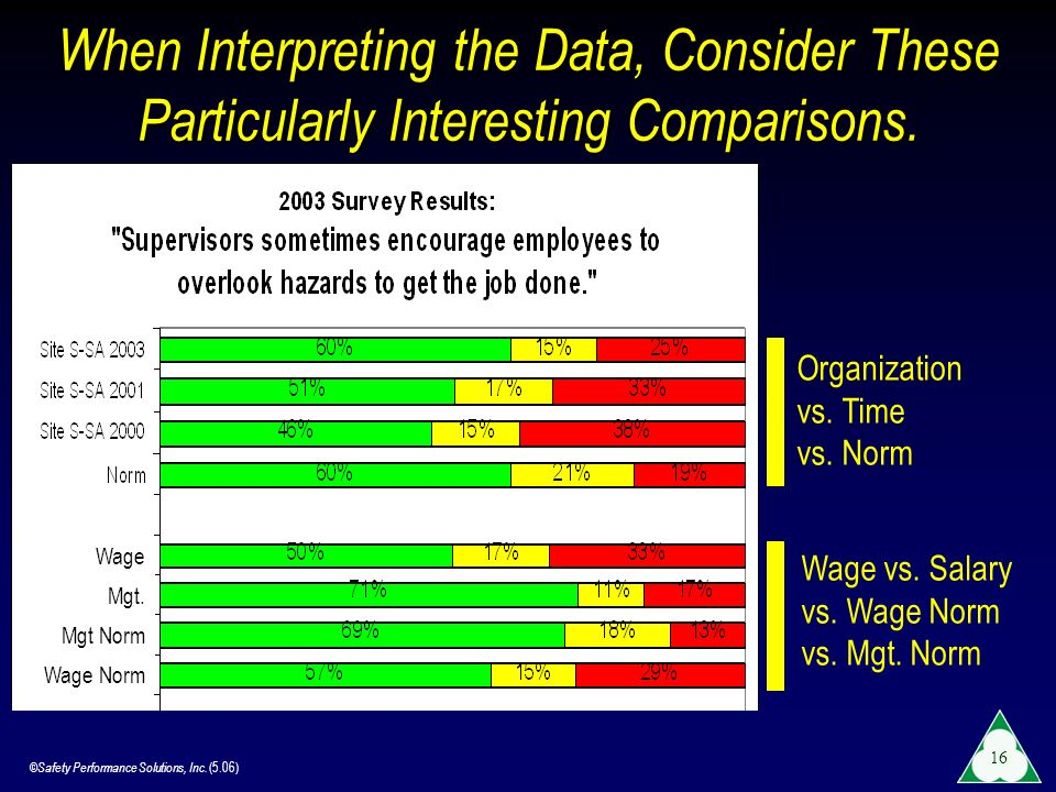 ©Safety Performance Solutions, Inc. (5.06) 16 When Interpreting the Data, Consider These Particularly Interesting Comparisons. Organization vs. Time v