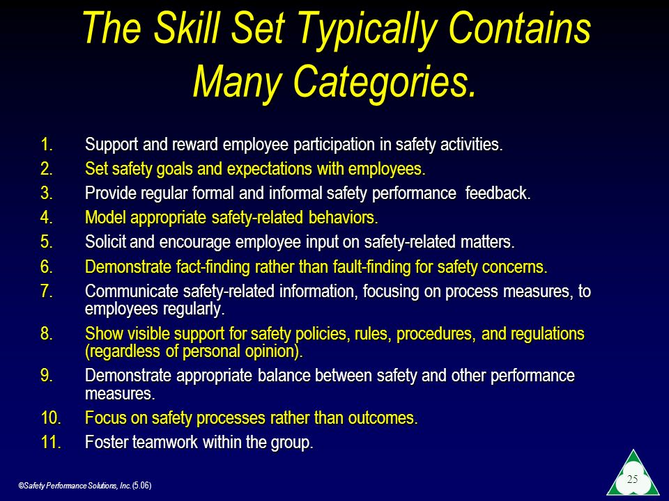 ©Safety Performance Solutions, Inc. (5.06) 25 The Skill Set Typically Contains Many Categories. 1.Support and reward employee participation in safety