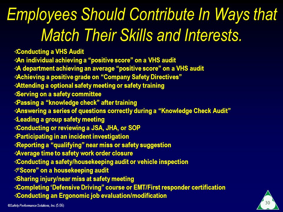 ©Safety Performance Solutions, Inc. (5.06) 30 Employees Should Contribute In Ways that Match Their Skills and Interests. Conducting a VHS Audit An ind