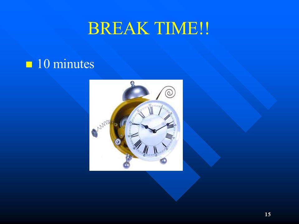15 BREAK TIME!! 10 minutes 15