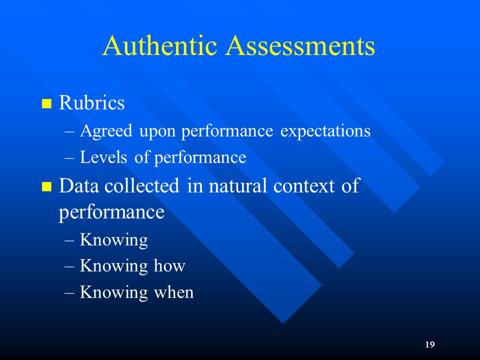 19 Authentic Assessments Rubrics –Agreed upon performance expectations –Levels of performance Data collected in natural context of performance –Knowin