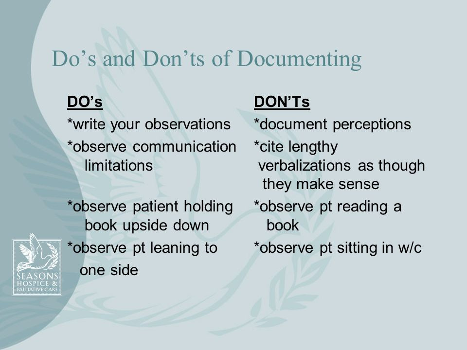Dos and Donts of Documenting DOsDONTs *write your observations*document perceptions *observe communication*cite lengthy limitations verbalizations as