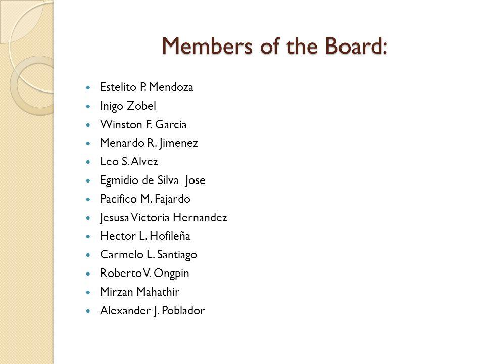 Members of the Board: Estelito P. Mendoza Inigo Zobel Winston F. Garcia Menardo R. Jimenez Leo S. Alvez Egmidio de Silva Jose Pacifico M. Fajardo Jesu