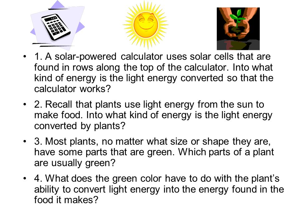Pigments of Plants PigmentsPigments – light absorbing pigments –Because light is energy – energy is absorbed by the pigments Their electrons get excited to a higher energy level ChlorophyllChlorophyll – main light absorbing pigment of plants –Two types: chlorophyll a and chlorophyll b –Absorbs light in the blue-violet and red regions; reflects green light