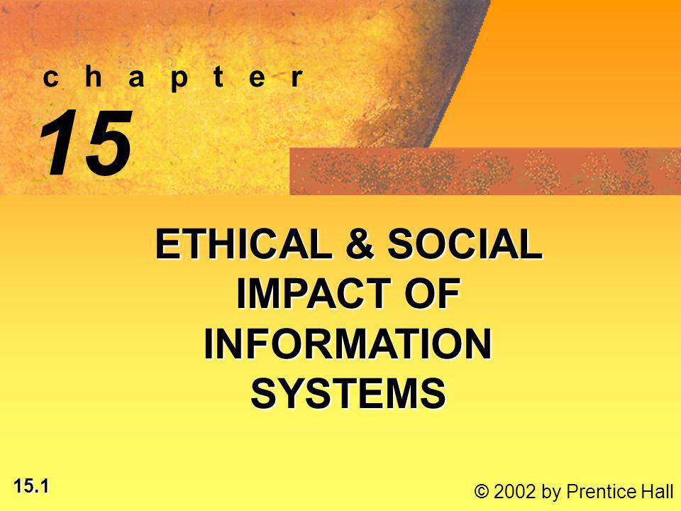 15.2 © 2002 by Prentice Hall LEARNING OBJECTIVES ANALYZE ETHICAL, SOCIAL, POLITICAL ISSUES RAISED BY INFORMATION SYSTEMSANALYZE ETHICAL, SOCIAL, POLITICAL ISSUES RAISED BY INFORMATION SYSTEMS IDENTIFY, APPLY MORAL DIMENSIONS OF INFORMATION SOCIETYIDENTIFY, APPLY MORAL DIMENSIONS OF INFORMATION SOCIETY*