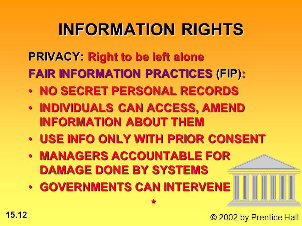 15.12 © 2002 by Prentice Hall INFORMATION RIGHTS PRIVACY: Right to be left alone FAIR INFORMATION PRACTICES (FIP): NO SECRET PERSONAL RECORDSNO SECRET PERSONAL RECORDS INDIVIDUALS CAN ACCESS, AMEND INFORMATION ABOUT THEMINDIVIDUALS CAN ACCESS, AMEND INFORMATION ABOUT THEM USE INFO ONLY WITH PRIOR CONSENTUSE INFO ONLY WITH PRIOR CONSENT MANAGERS ACCOUNTABLE FOR DAMAGE DONE BY SYSTEMSMANAGERS ACCOUNTABLE FOR DAMAGE DONE BY SYSTEMS GOVERNMENTS CAN INTERVENEGOVERNMENTS CAN INTERVENE*