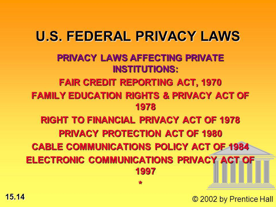15.14 © 2002 by Prentice Hall PRIVACY LAWS AFFECTING PRIVATE INSTITUTIONS: FAIR CREDIT REPORTING ACT, 1970 FAMILY EDUCATION RIGHTS & PRIVACY ACT OF 1978 RIGHT TO FINANCIAL PRIVACY ACT OF 1978 PRIVACY PROTECTION ACT OF 1980 CABLE COMMUNICATIONS POLICY ACT OF 1984 ELECTRONIC COMMUNICATIONS PRIVACY ACT OF 1997 * U.S.