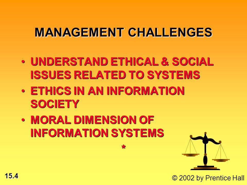 15.4 © 2002 by Prentice Hall MANAGEMENT CHALLENGES UNDERSTAND ETHICAL & SOCIAL ISSUES RELATED TO SYSTEMSUNDERSTAND ETHICAL & SOCIAL ISSUES RELATED TO SYSTEMS ETHICS IN AN INFORMATION SOCIETYETHICS IN AN INFORMATION SOCIETY MORAL DIMENSION OF INFORMATION SYSTEMSMORAL DIMENSION OF INFORMATION SYSTEMS*