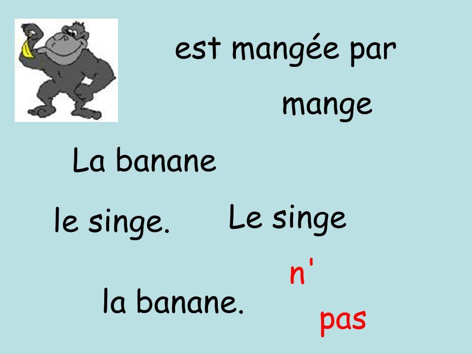 pas est mangée par mange La banane Le singe la banane. le singe. n'