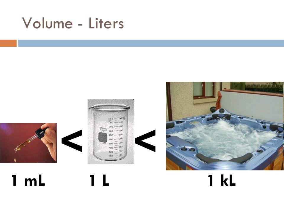 Volume - Liters << 1 mL1 kL1 L