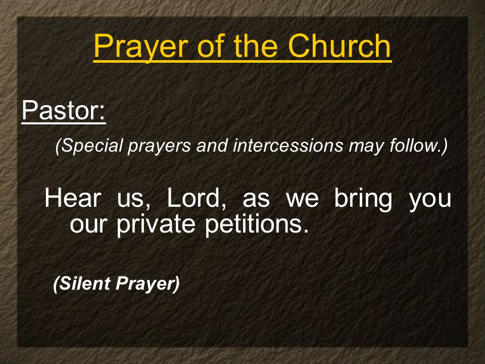 Prayer of the Church Pastor: (Special prayers and intercessions may follow.) Hear us, Lord, as we bring you our private petitions. (Silent Prayer)